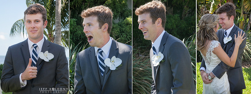Groom with his mouth dropped at his wedding first look.