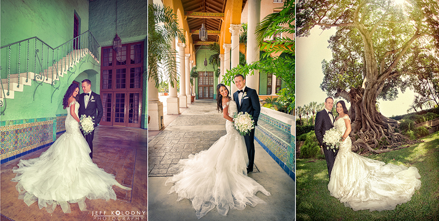 Wedding pictures taken at the Biltmore Hotel in Coral Gables, Miami