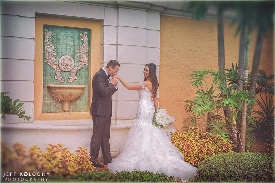 Wedding picture taken at the Biltmore hotel in Miami.