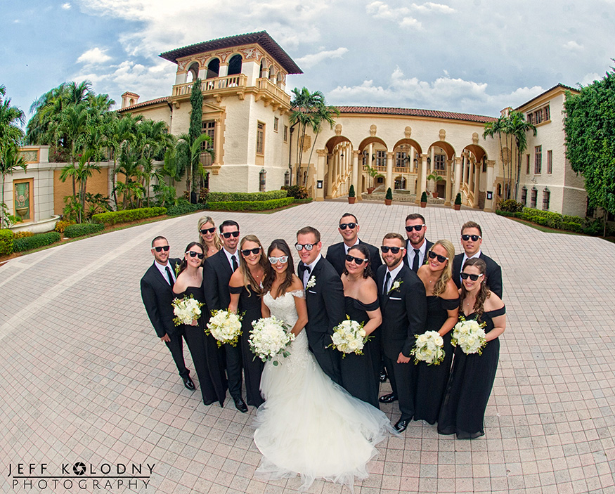 Bridal party picture taken at the Biltmore Hotel in Coral Gables, Florida