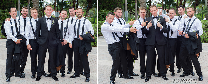 Fun groom and groomsmen photos taken at the Biltmore Hotel in Coral Gables.