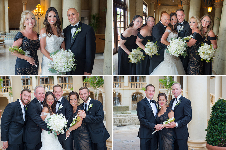 Family wedding pictures taken at The Biltmore Hotel in Coral Gables, Miami.