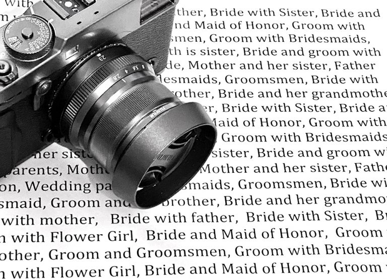 Wedding photographer shot list